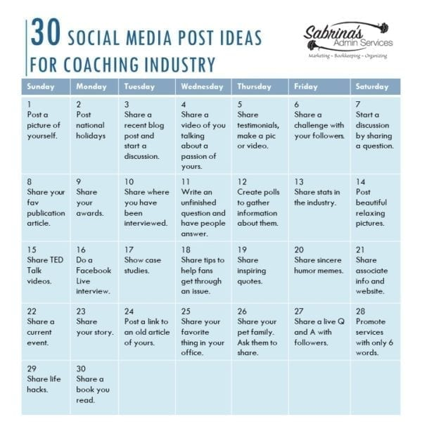 30 social media post ideas for the Coaching Industry
